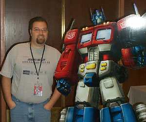 Drew and Optimus Prime at BotCon 2003