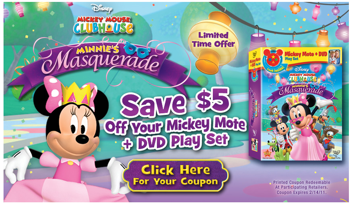 Disney Movie Rewards currently has a $5 off coupon for the Mickey Mote and DVD Play Set!