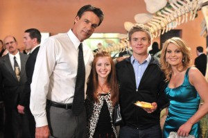 David James Elliott as Mark Crane, Emma Gould as Zoe Crane, Chris Brochu as Kenny Crane, and Candace Cameron Bure as Annie Morgan in Truth Be Told.