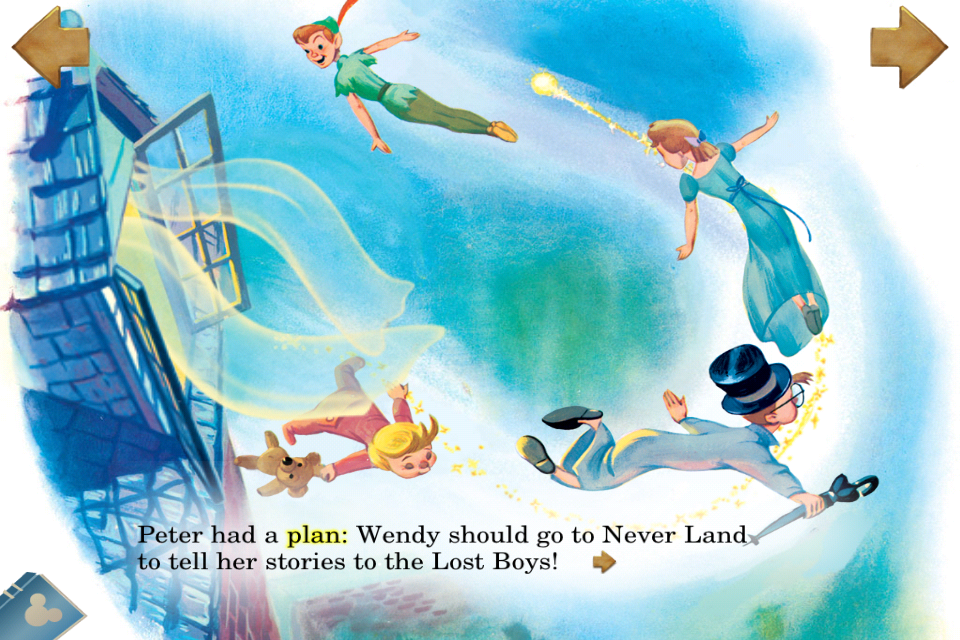 Image from the Peter Pan Classic Storybook App from Disney