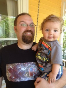 Geek Dad with his future Geek Son, Big Transformers Fans