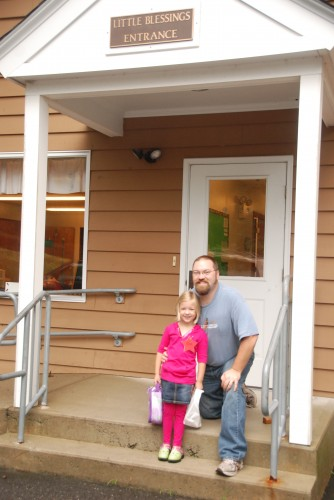 Eva and Daddy on 1st Day of School 2012