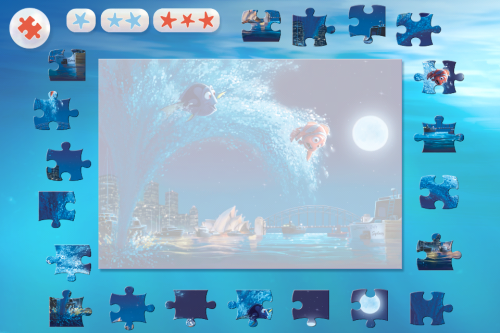 Put together puzzles from Finding Nemo movie scenes