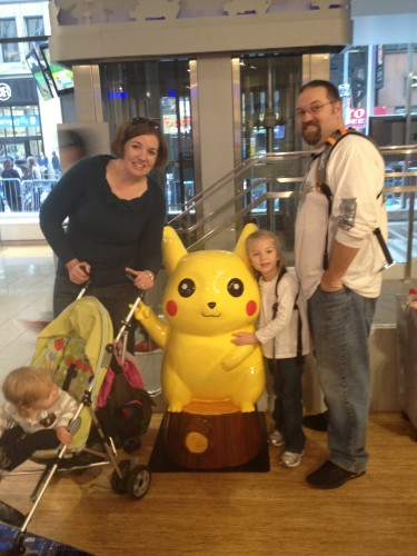 At Nintendo World with Pikachu