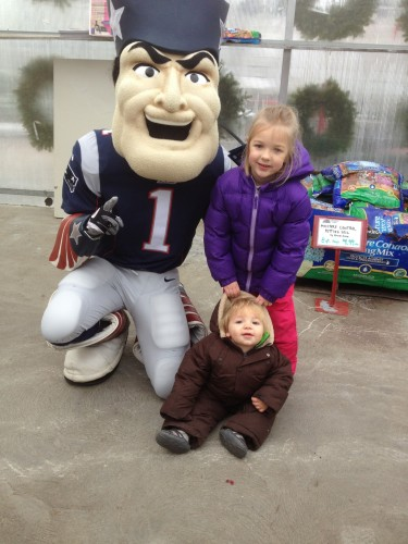 Eva and Andrew with Pat the Patriot