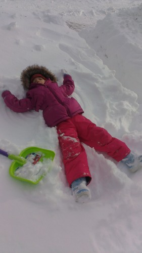 "Eva ""Helping"" me shovel"