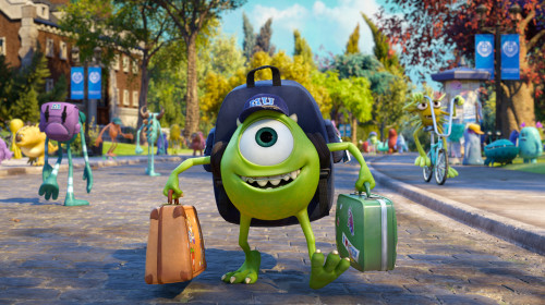 "JUST ANOTHER WIDE-EYED COLLEGE STUDENT – Mike Wazowski has arrived—and Monsters University will never be the same. With frightening new classes, a campus full of new friends and even scarier rivals, college life promises to be an interesting and uproarious adventure. Screaming with laughter and fun, ""Monsters University"" is in theaters June 21, 2013, and will be shown in Disney Digital 3D™ in select theaters."
