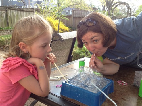 Blowing Bubbles with Mom