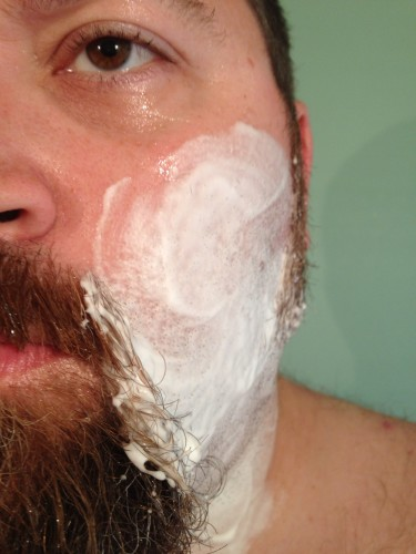Applying the Aveeno Shaving Cream