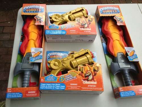 MEGA Bloks Skylanders Giants Ignitor's Flame Sword and Trigger Happy's Dart Blasters