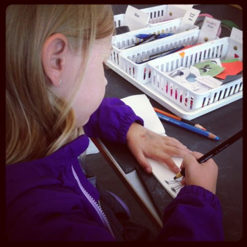 Eva making a Pigeon Book in the Studio at the Eric Carle Museum