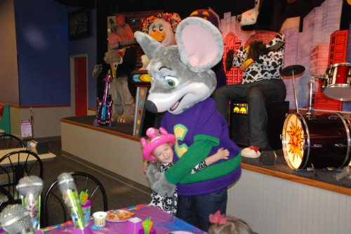 Hugging Chuck E. Cheese