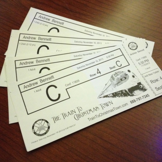 Our Tickets for the Train to Christmas Town