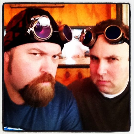 With Andrew Kardon and our Steampunk Goggles