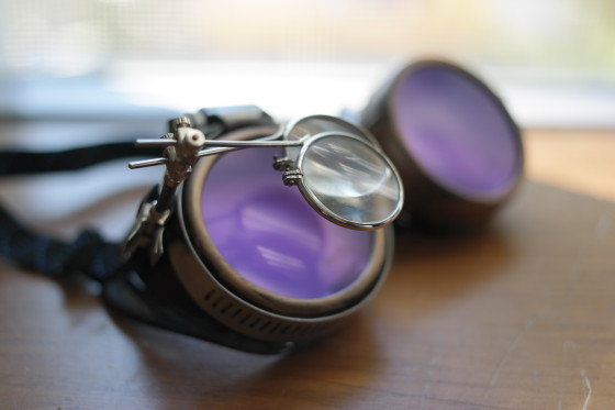 Airship Navigator SteamPunk Goggles with Purple Lenses and Two Magnifying Lenses