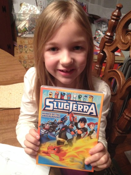 Slugterra is Eva's Favorite show, hands down. She loves Eli and Trixie, laughs and Pronto and thinks that Kord is me. I am so glad I introduced her to this series. It is so well done.