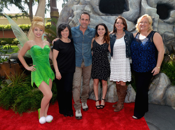"BURBANK, CA - MARCH 22: (L-R) Tinker Bell, director Peggy Holmes , voice actors Carlos Ponce and Mae Whitman, producer Jenni Magee Cook and Senior Vice President of DisneyToon Studios Meredith Roberts attend Disney's ""The Pirate Fairy"" World Premiere at Walt Disney Studios on March 22, 2014 in Burbank, California. On Blu-ray and Digital HD April 1.  (Photo by Alberto E. Rodriguez/Getty Images for Disney)"