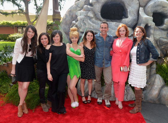 "BURBANK, CA - MARCH 22:  (L-R) Voice actors Angela Bartys and Pamela Adlon, director Peggy Holmes, Tinker Bell, voice actors Mae Whitman, Carlos Ponce and Christina Hendricks and producer Jenni Magee Cook attend Disney's ""The Pirate Fairy"" World Premiere at Walt Disney Studios on March 22, 2014 in Burbank, California. On Blu-ray and Digital HD April 1.  (Photo by Alberto E. Rodriguez/Getty Images for Disney)"