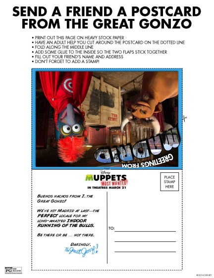 Muppets Most Wanted Postcard from Gonzo