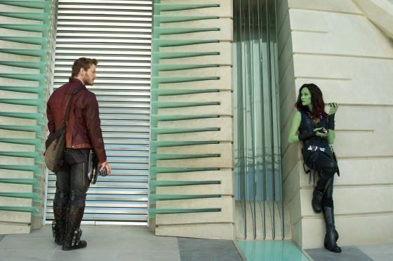 Star-Lord AKA Peter Quill played by Chris Pratt) and Gamora played by Zoe Saldana