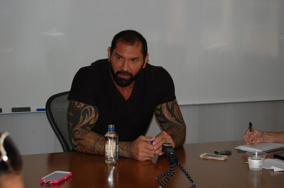Soft Spoken Dave Bautista interviews with bloggers.