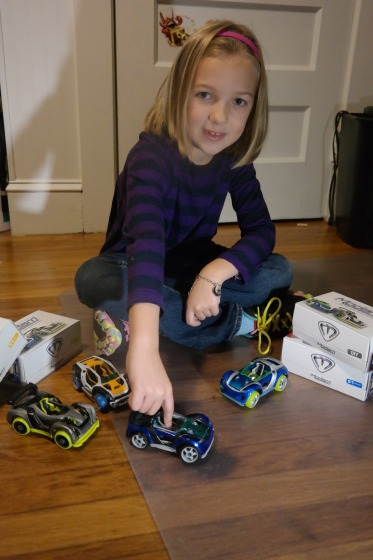 Eva with the cars