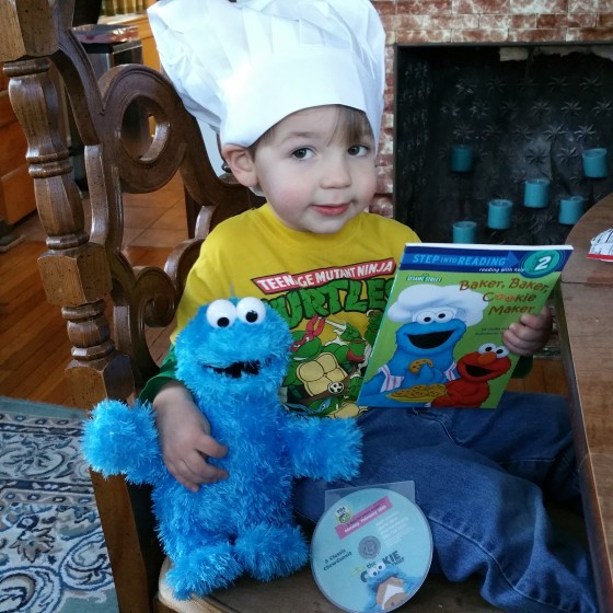 Andrew with Cookie Monster Items