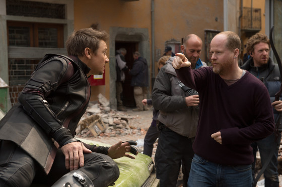 Avengers Age of Ultron Image of Jeremy Renner - Hawkeye and Joss Whedon - Director