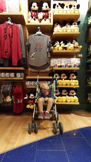 Andrew Asleep at the Disney Store