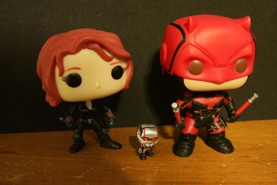 Bobblehead Funko Pop figures of Black Widow,ANT-MAN and Daredevil
