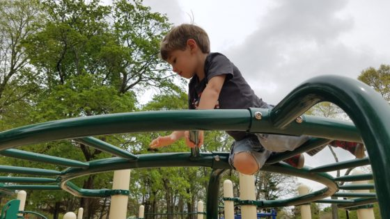 Andrew on the Monkey Bars - His Way