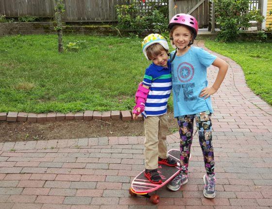 Skateboarding kids