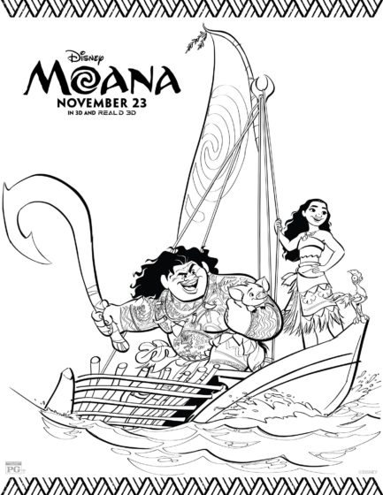 Moana And Maui On A Boat Coloring Page