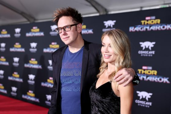 James Gunn and Jennifer Holland at The World Premiere Of Marvel Studios Thor Ragnarok