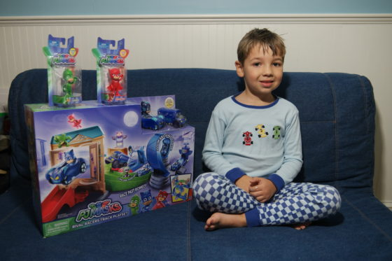 Andrew and his PJ Masks Toys