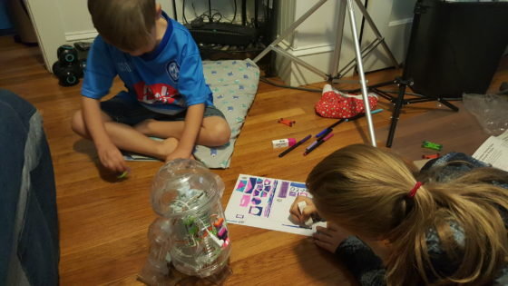 the kids creating their own designs for the droid inventor kit
