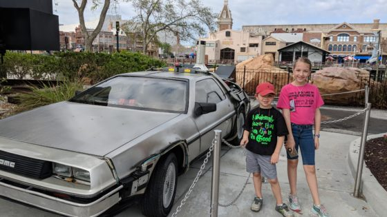 Kids with the Back to the Future Delorean