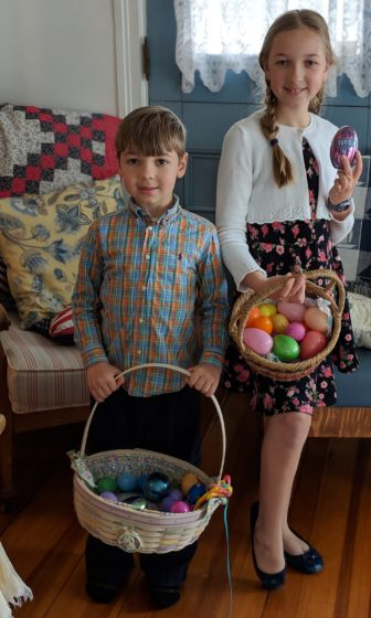 After the Egg Hunt at Mem and Grandfathers Place