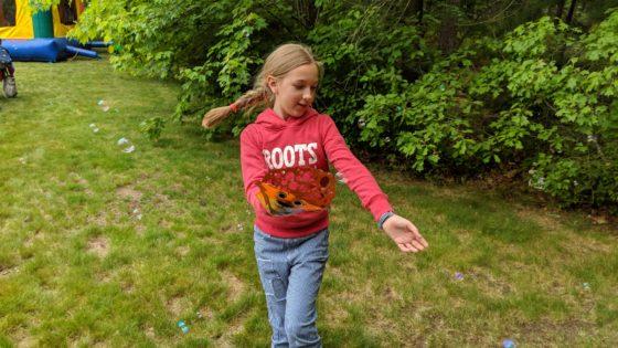 Eva with Glove-A-Bubbles