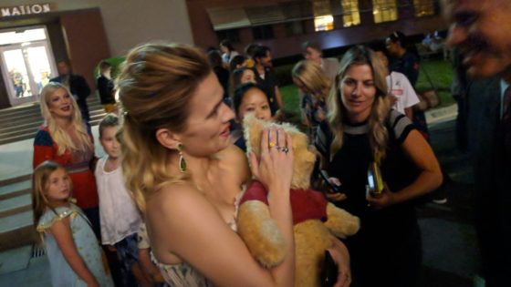Hayley Atwell with the Winnie the Pooh Bear
