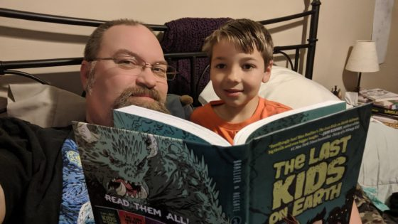 Reading The Last Kids on earth with Andrew